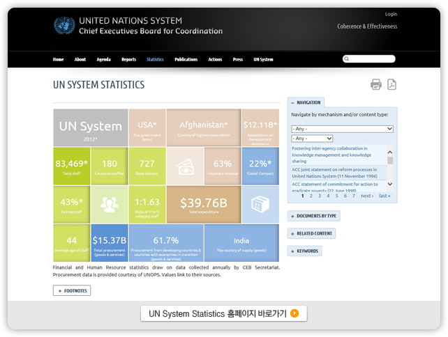 UN System Statistics 홈페이지 바로가기